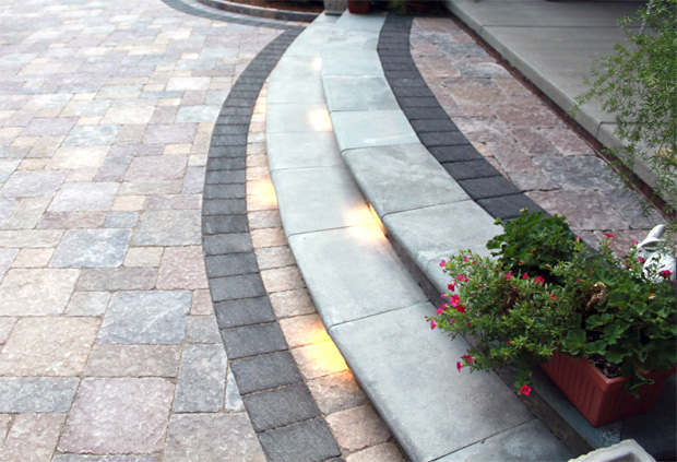 Courtyard Stone & Landscape Lighted Steps